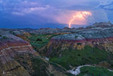 Badlands National Park, South Dakota, lightning, thunderstorm, bolts