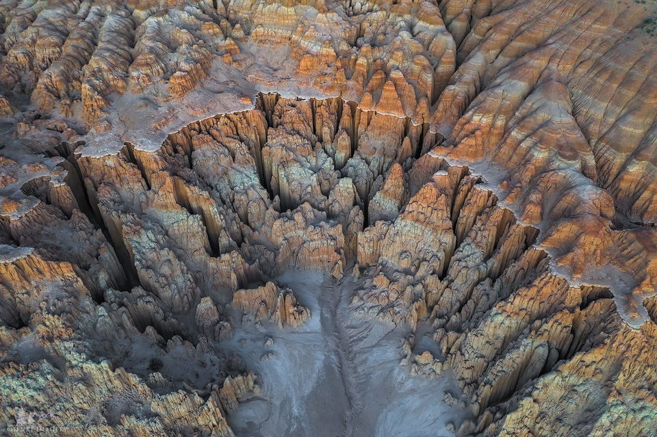 Cathedral Gorge State Park, Nevada, cliff, bentonite, western US, other worldly, color, clay, aerial, volcanic ash, volcanic