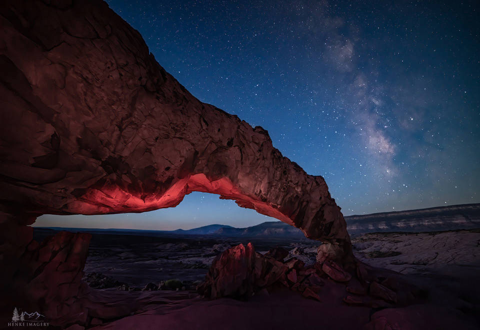 Arch, monument, sunset, Milky Way, desert