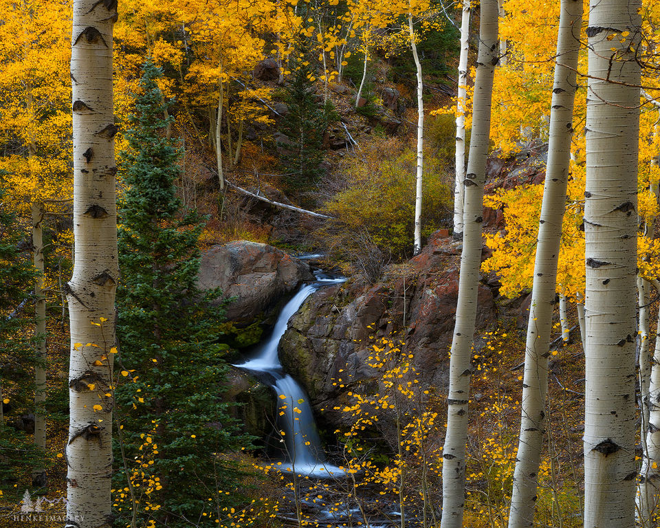 Nellie Creek Falls, aspen, waterfall, San Juan Mtns