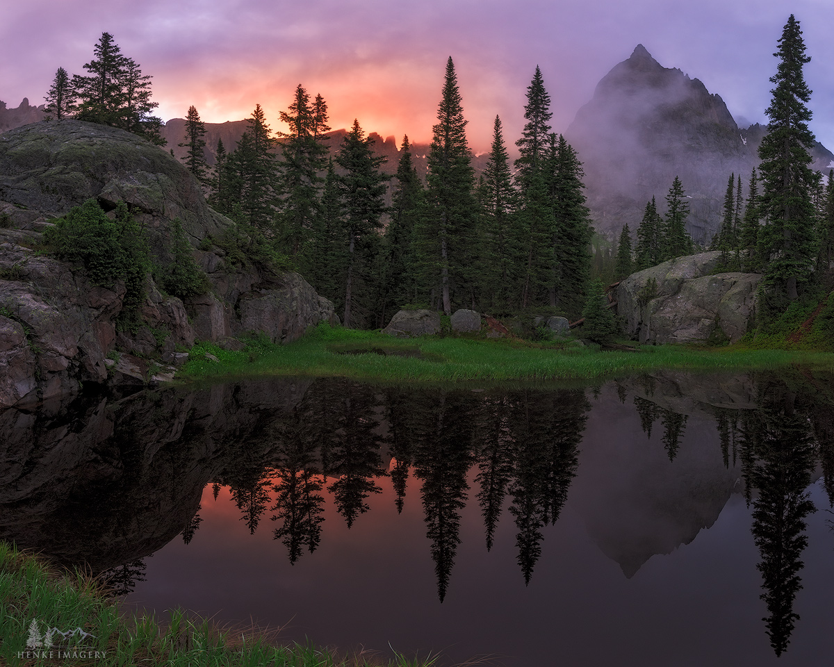 A stunning early morning in theIndian Peaks Wilderness, Colorado. Lone Eagle Peak looms in the background.