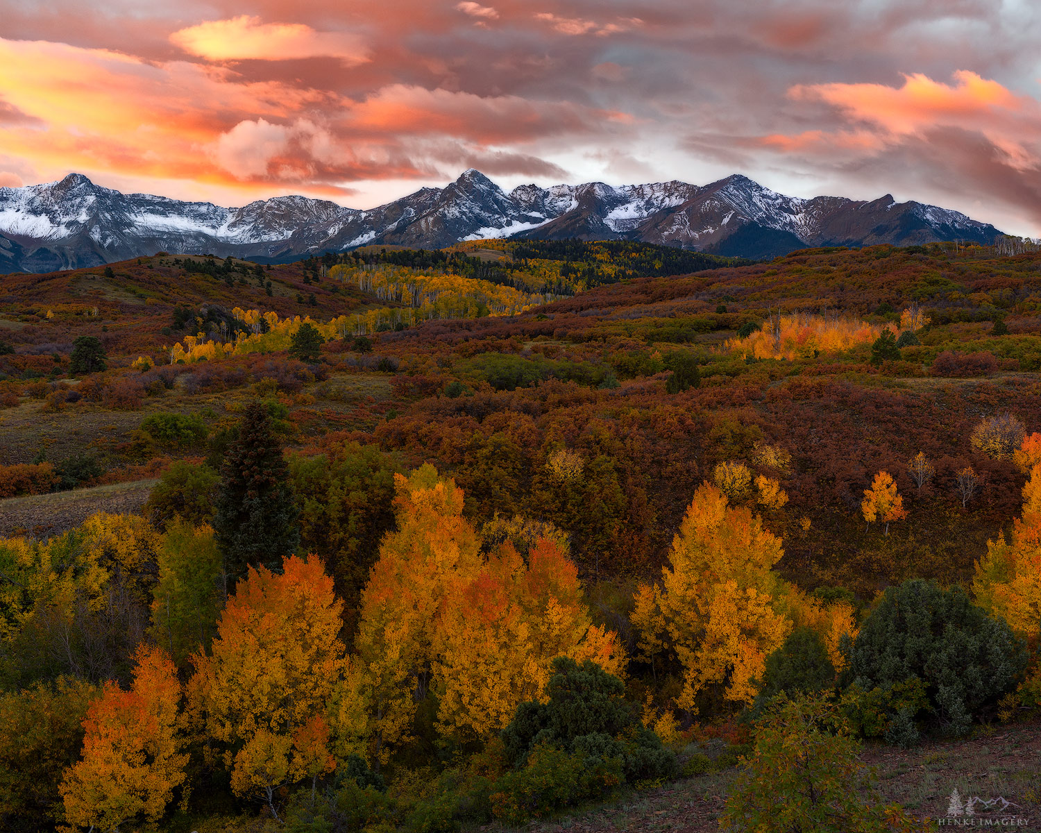 Sneffles Mountain Range, fall, morning, Dallas divide, , photo
