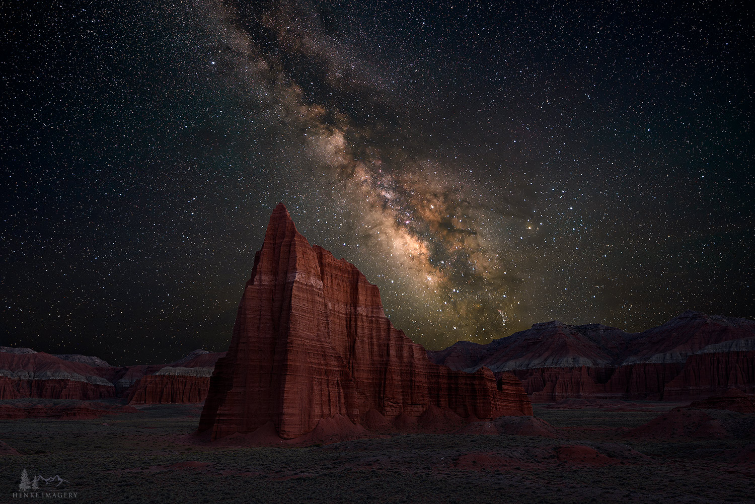 Capitol Reef National Park, Utah, night sky, heavenly, Temple of the Sun, color, national park, photo