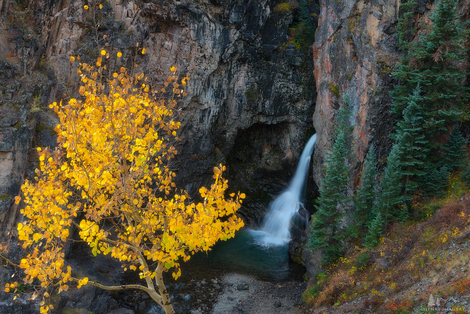Anamazing waterfall nestled along the Engineer Pass Road in the San Juan Mtns.